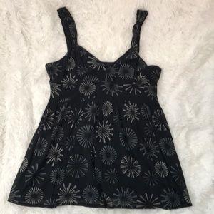 Printed black & grey empire waist strap top XL